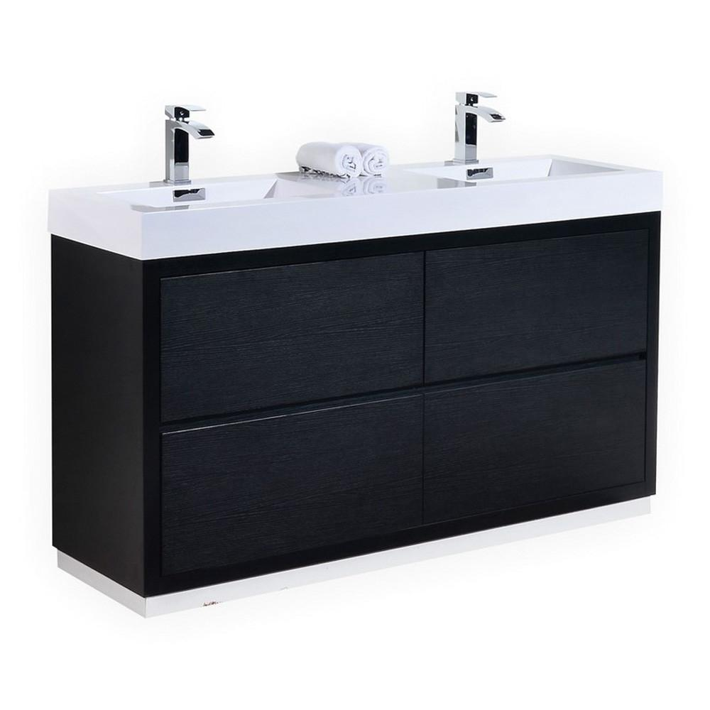 Kubebath bliss 60 black free standing double sink modern - Walmart bathroom vanities with sink ...