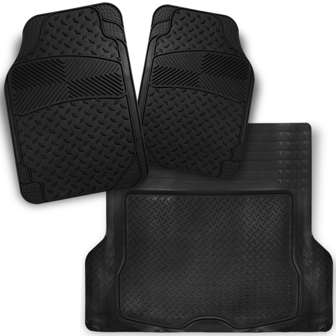 All Weather Metal Style Black Car Front+Trunk Floor Mats 3 Pcs Liner Heavy Duty