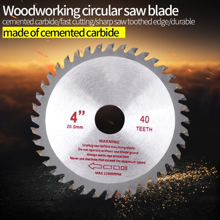 Anauto 4inches 40T Teeth Cemented Carbide Circular Saw Blade Wood Cutting Tool Bore Diameter 20mm,Circular Saw Blade, Cutting Blade Disc 40 Carbide Teeth Circular Saw