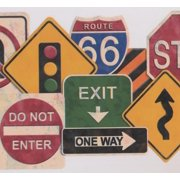 Wallpaper Border - Traffic Signs Educational Wall Border for Kids Teens, Roll 15 ft X 9.5 in