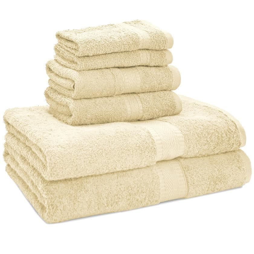 100% Egyptian Cotton Premium Bath Towel Set (1 Bath - 1 Hand - 1 Wash, Cream)