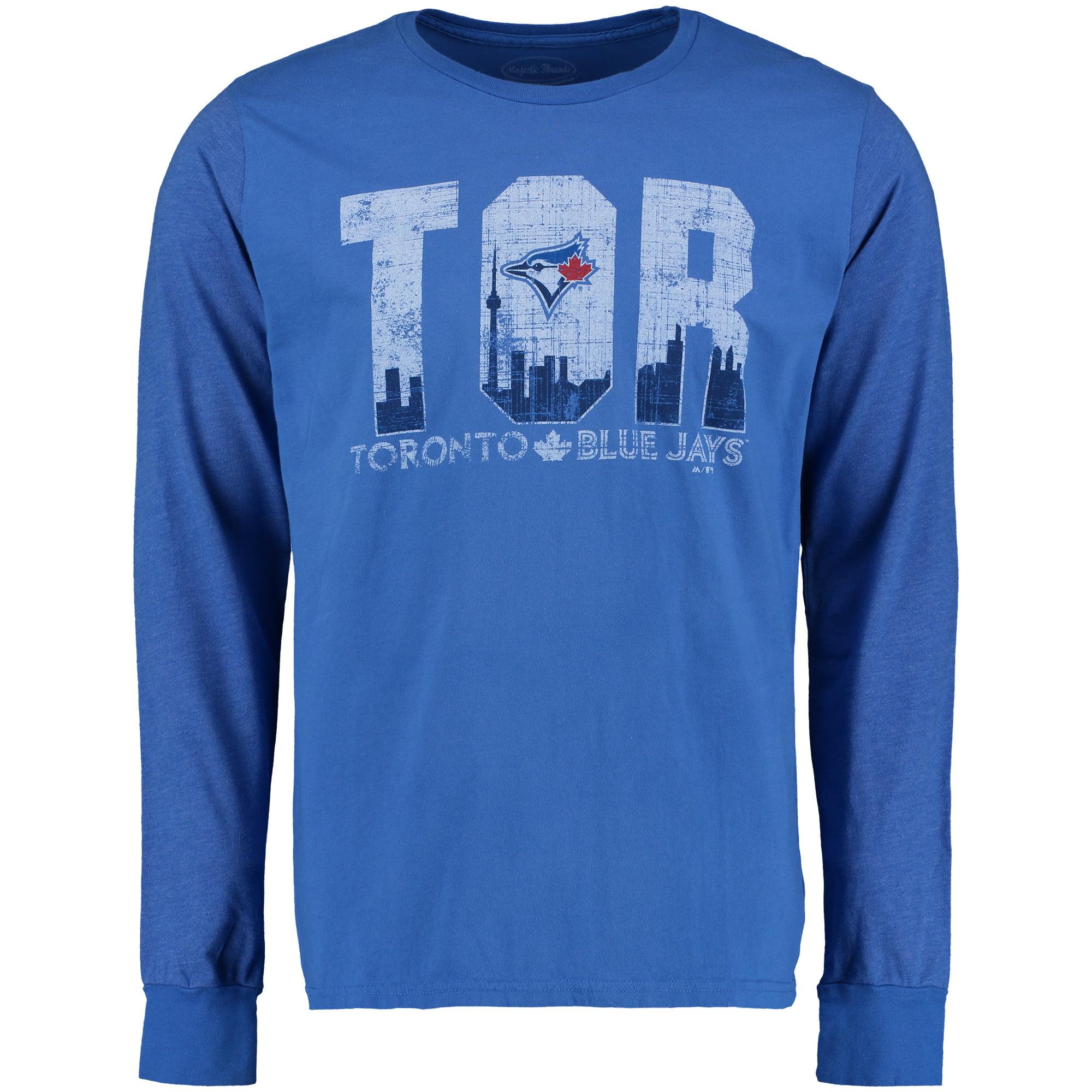 Toronto Blue Jays Majestic Threads Skyline Tri-Blend Long Sleeve T-Shirt - Royal