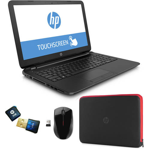 "HP 15.6"" Touchscreen Laptop PC with Quad-Core A8 Processor, 4GB Memory, 750GB Hard Drive, Windows 8.1 Bundle w/ Wireless Mouse, USB Flash, Case & 6-Mo Antivirus ($80 value)"
