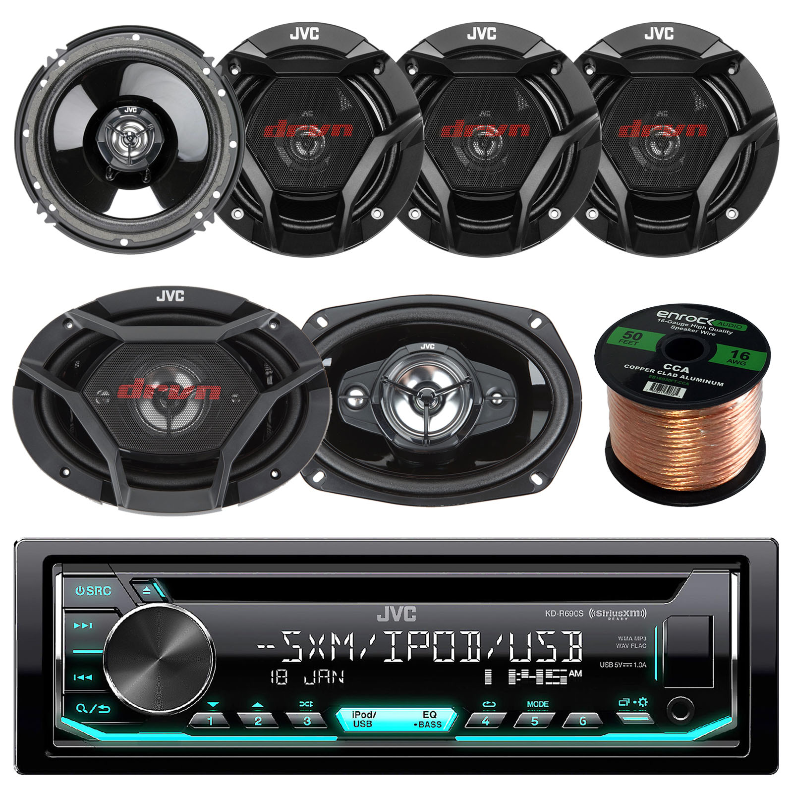 "JVC KD-R690 CD/MP3/WMA Receiver Bundle Combo With 2x JVC CS-DR6930 6x9"" 1000w 3-Way Vehicle Stereo Coaxial Speakers + 4x CS-DR620 6.5"" 300W 2-Way Audio Speakers + Enrock 50 Foot 16 Gauge Speaker Wire"