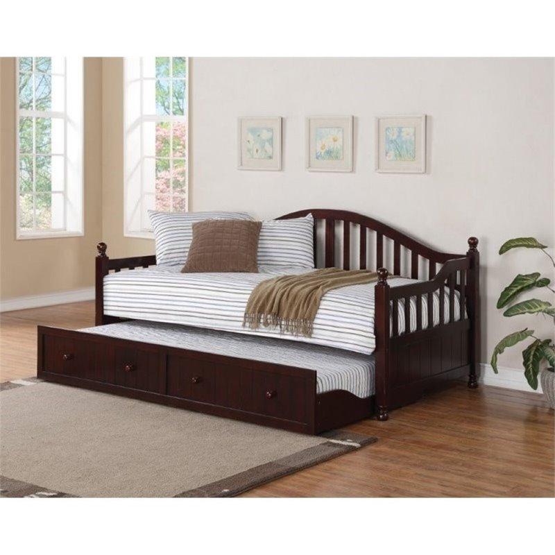 Bowery Hill Day Bed with Trundle in Cappuccino by Bowery Hill