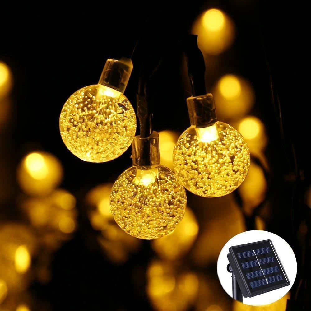 Icicle LED Christmas lights Landscape Solar String Lights Globe Ball 19.7ft 30 LED Fairy Bubble Outdoor Garden Crystal Lights for Christmas Tree,Holiday,Outdoor,Indoor,Party Decor(Warm White)