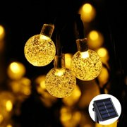 Qedertek Christmas Lights LED String lights Landscape Solar String Lights Globe Ball 19.7ft 30 LED Fairy Bubble Outdoor Garden Crystal Lights for Tree,Holiday,Outdoor,Indoor,Party Decor(Warm White)