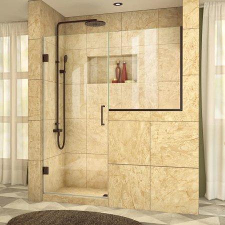 DreamLine Unidoor Plus 57-57 1/2 in. W x 72 in. H Frameless Hinged Shower Door with 34 in. Half Panel in Oil Rubbed Bronze