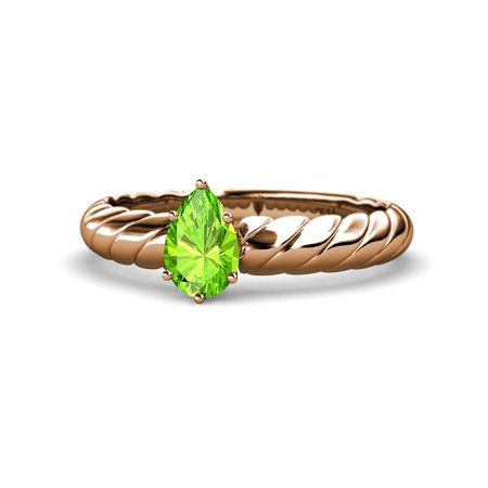 Peridot 7x5mm Pear Solitaire Rope Engagement Ring 0.75 Carat in 14K Rose Gold.size 5.75