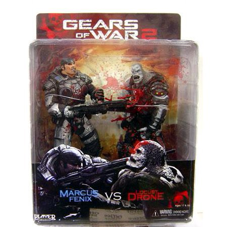 NECA Gears of War Marcus Fenix & Locust Drone Action Figure (Gears Of War 2 Locust Hive Box Set)