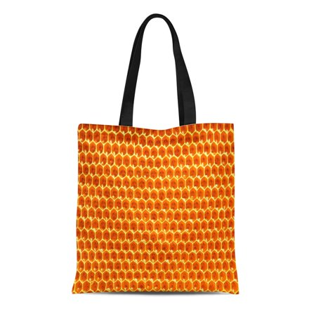ASHLEIGH Canvas Tote Bag Yellow Comb Honeycombs Honey Natural Nectar Apiculture Pattern Durable Reusable Shopping Shoulder Grocery (Nectar Home Store)