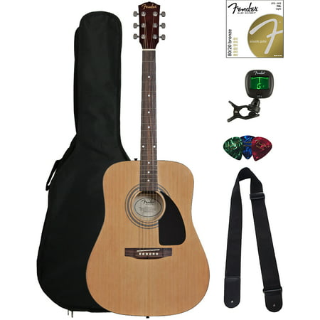 Fender FA-115 Dreadnought Acoustic Guitar - Natural Bundle with Gig Bag, Tuner, Strings, Strap, and Picks
