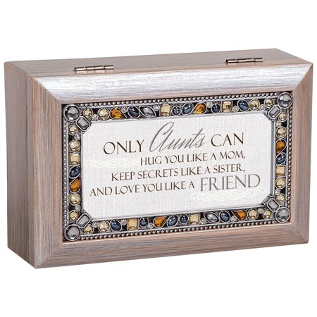 Cottage Garden Aunts Love You Like a Friend Brushed Pewter Finish Petite Jeweled Music Box plays Edelweiss #PJ86GB Bee Jeweled Box