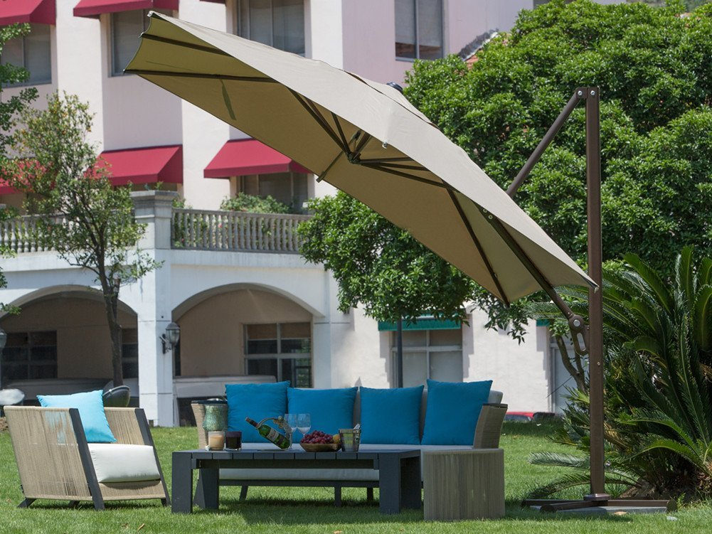 Abba Patio 10-Ft Square Easy Open Offset Outdoor Umbrella with Square Parasol and Cross Base, Infinite Tilt, Tan by Abba Patio