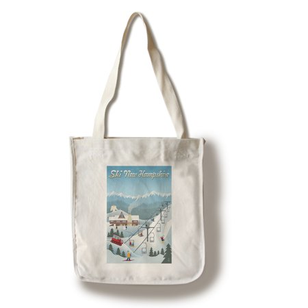 New Hampshire - Retro Ski Resort - Lantern Press Artwork (100% Cotton Tote Bag - (Best Cheap Ski Resorts)