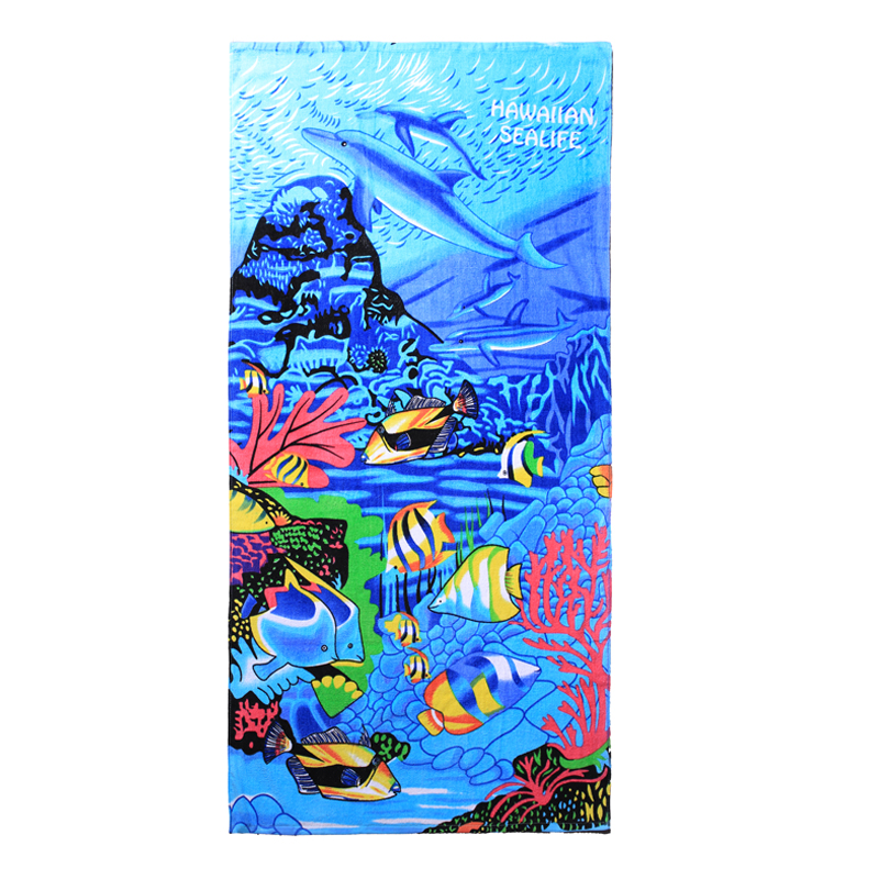 Hawaii Beach Towel 100% Cotton 60x30 Blue Sealife Fish Coral Dolphin Water