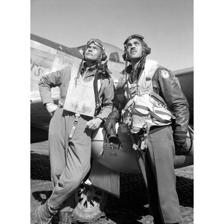 Digitally restored vector photo of Benjamin O Davis and Edward C Gleed members of the Tuskegee Airmen 332nd Fighter Group posing with a P-51D aircraft named Creamers Dream Poster Print