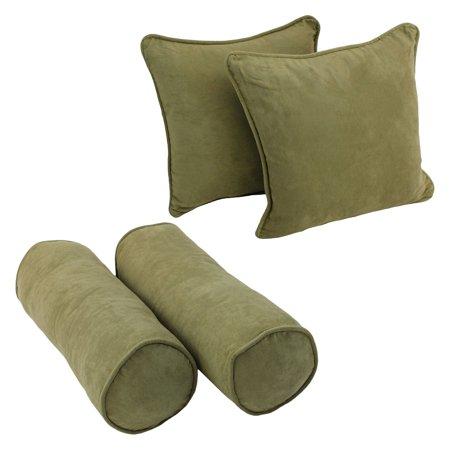 Blazing Needles 4 Piece Microsuede Corded Throw Pillow Set