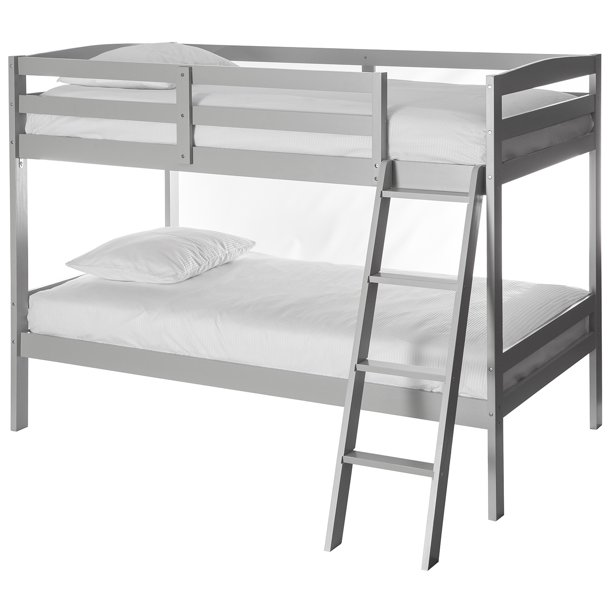 Dream On Me Logan mini Twin over Twin Bunk Bed, Grey