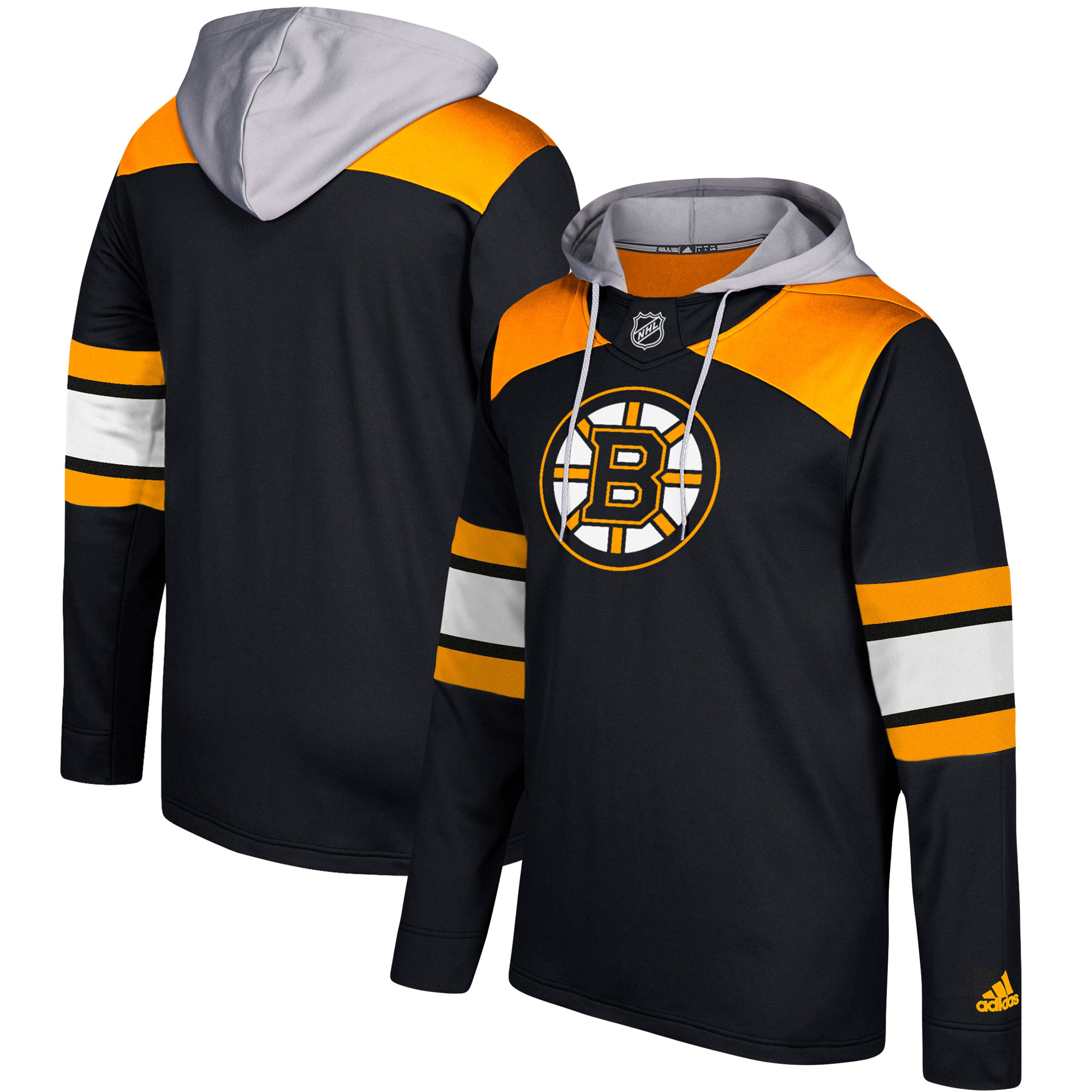 Boston Bruins Adidas Silver Jersey Pullover Hoodie