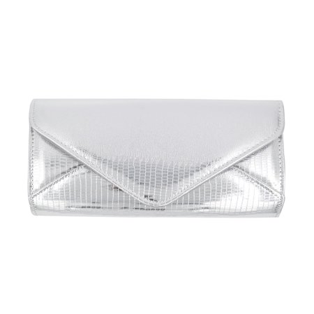 Large PU Leather Textured Shine Envelope Flap Clutch Evening Bag Handbag (Leather Flap Bag)