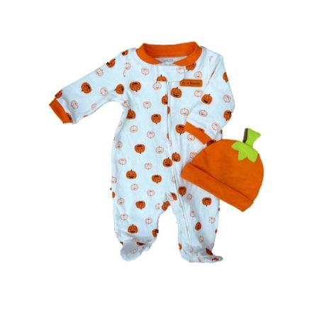 carters infant boy 1st halloween pumpkin sleeper hat set sleep play pajamas
