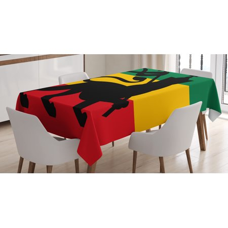 - Rasta Tablecloth, Rastafarian Flag with Judah Lion on Reggae Music Inspired Decor Image, Rectangular Table Cover for Dining Room Kitchen, 52 X 70 Inches, Black Red Green and Yellow, by Ambesonne