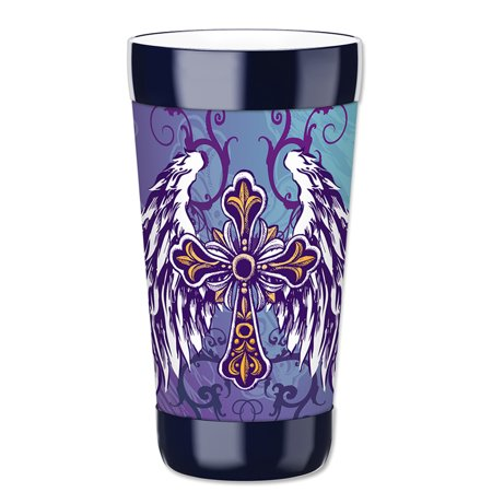 Mugzie 16-Ounce Tumbler Drink Cup with Removable Insulated Wetsuit Cover - Winged Cross