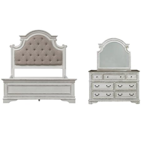 - 2 Piece Bedroom Set with King Bed and Mirror Dresser in Antique White