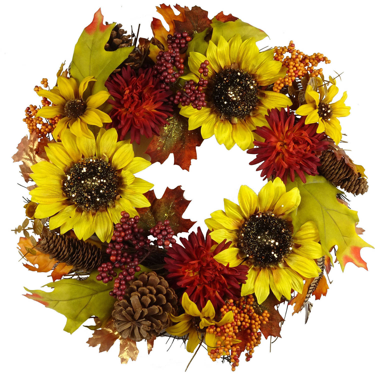 Large Yellow Sunflower Mixed Wreath Fall Harvest Halloween Decoration TS122936-01