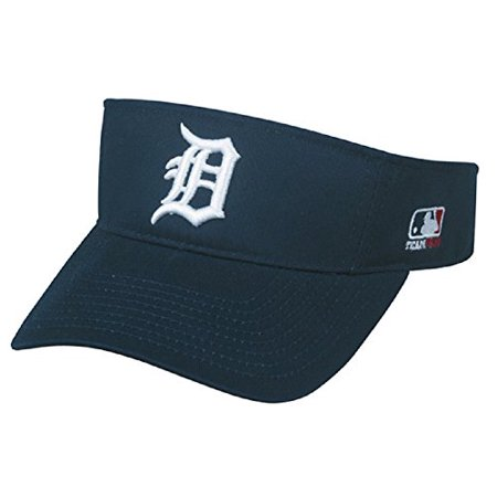 Golf Terry Visor - Detroit Tigers MLB OC Sports Sun Visor Golf Hat Cap Navy Blue w/ White D Logo Adult Men's Adjustable