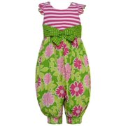 Baby Girls Pink Stripe Floral Dotted Bow Racer Back Romper 3-6M