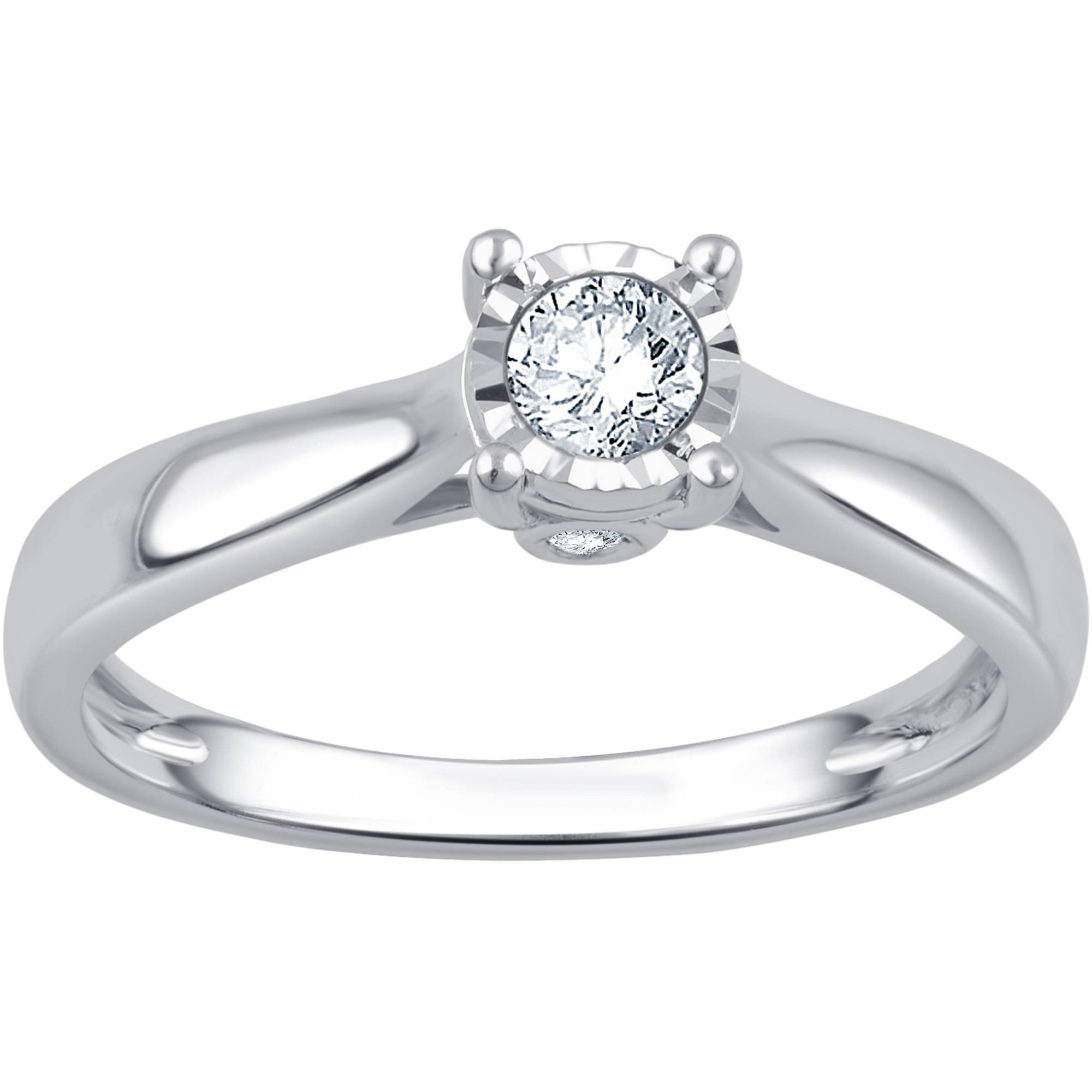 ailov 0.5 Ct Classic Round Solitaire Engagement Promise Ring Brilliant Cut Zircon Open Cathedral Setting