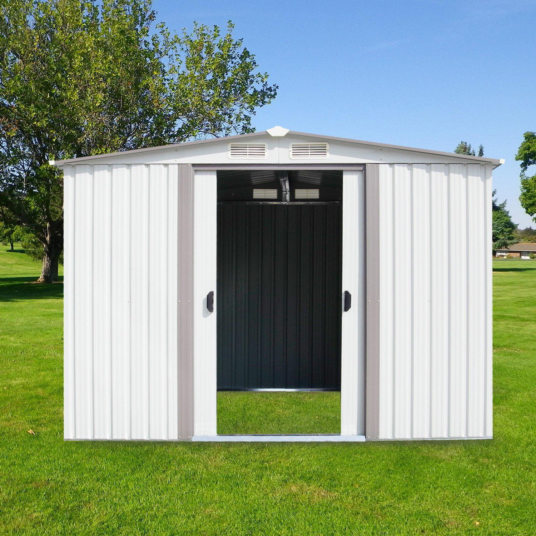 Kinbor New 8'x6' Outdoor White Steel Garden Storage Utility Tool Shed Backyard Lawn Building Garage w/Sliding Door