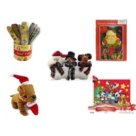Christmas Fun Gift Bundle [5 Piece] - 20   Themed Nail Files (Assrt) - Vintage Designed Stocking Hanger Santa - Set of 3 Containers With   Character Lids -  Santa Bulldog  5