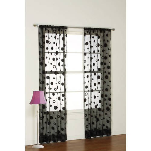 your zone flocked dot sheer curtain panel