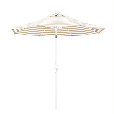 Fiberglass Matt White Manual Screen (Eclipse Collection 9 Fiberglass Market Umbrella Collar Tilt Matted White/Olefin/Beige White Cabana Stripe)