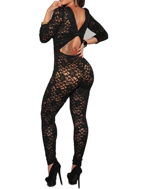 Lace Overlay Nude Illusion Keyhole Back Jumpsuit set with lace panties