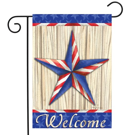 Patriotic Barnstar Primitive Garden Flag Welcome Red White and Blue 12.5