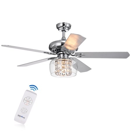 Cayten 5-Blade 52-Inch Chrome Lighted Ceiling Fans with Crystal Shade  (Remote Controlled)
