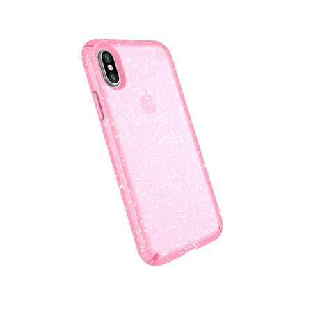 newest 5b24f 2b219 Speck Presidio Clear with Glitter for iPhone X, Bella Pink with Gold Glitter