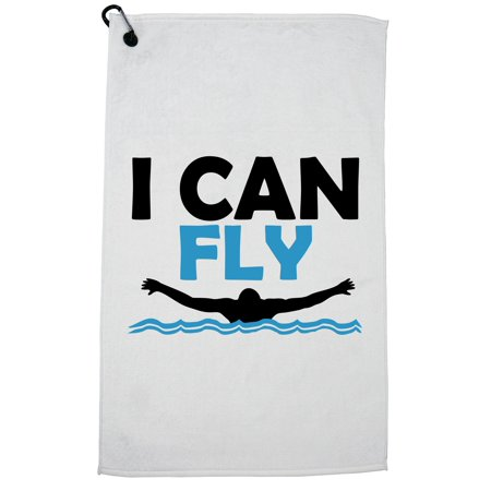 I Can Fly Swimming Butterfly Icon Swimmer Golf Towel with Carabiner (Can I Swim In A Sports Bra)