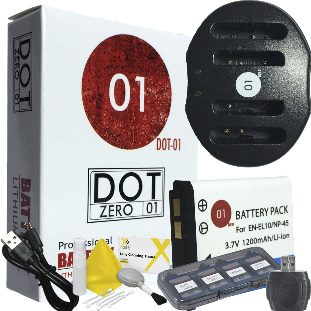 DOT-01 Brand 1200 mAh Replacement Nikon EN-EL10 Battery and Dual Slot USB Charger for Nikon S230 Digital Camera and Nikon ENEL10 Accessory Bundle