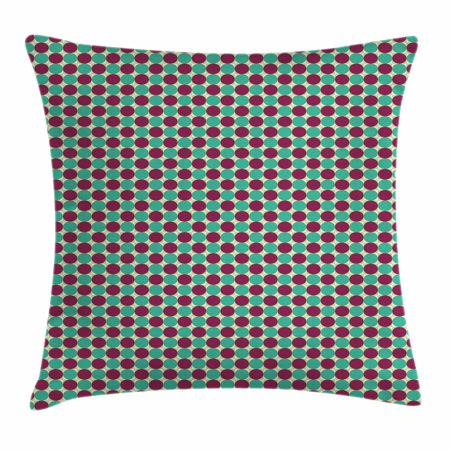 Tone Geometric Circles - Abstract Throw Pillow Cushion Cover, Geometric Circles in Squares Different Tones Modern Unusual Retro Hipster, Decorative Square Accent Pillow Case, 20 X 20 Inches, Pale Sea Green Plum, by Ambesonne