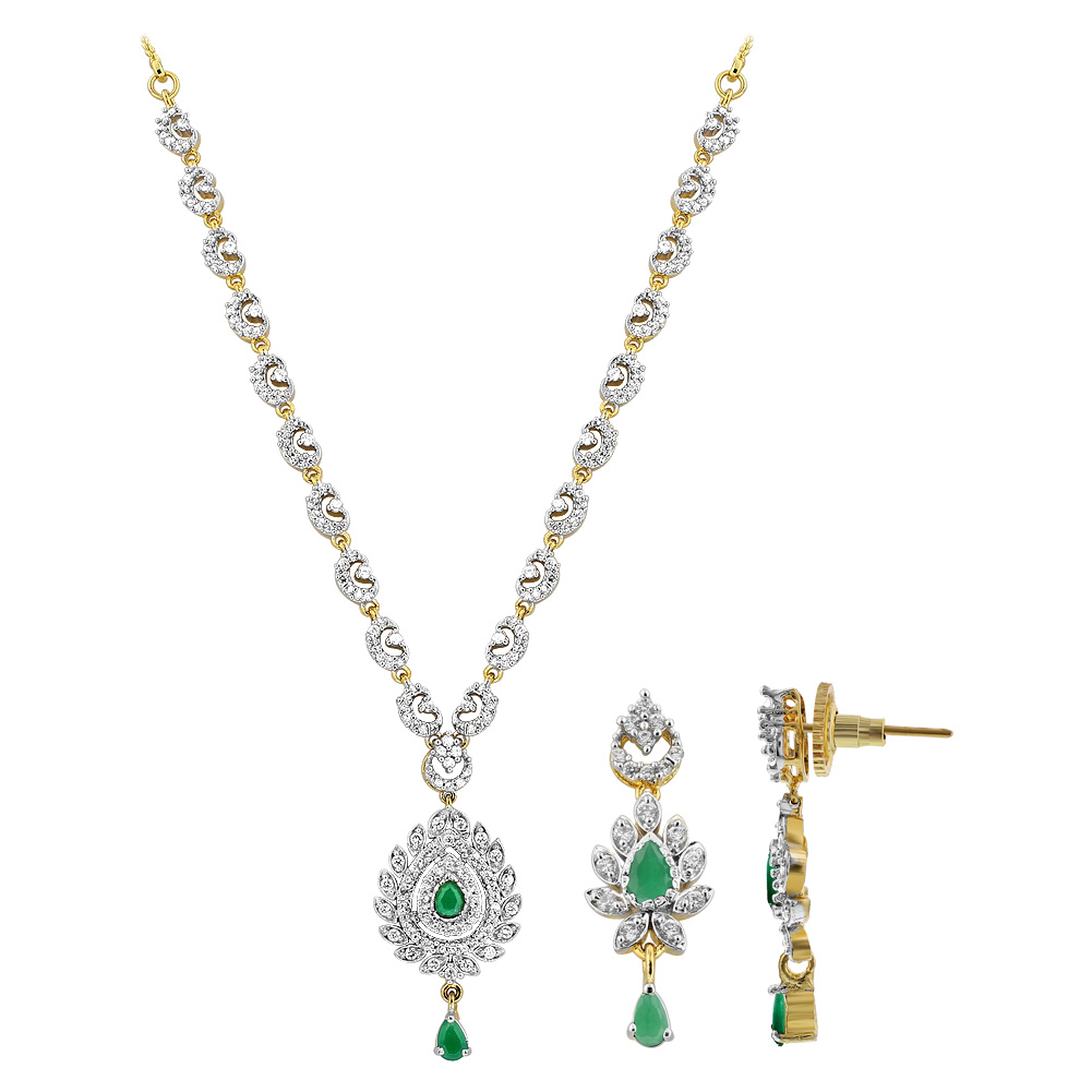 Gold Plated Teardrop Simulated Emerald and Cubic Zirconia Necklace Bollywood Indian Earrings Set by
