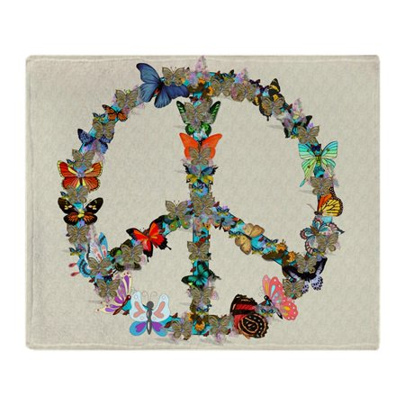 CafePress - Butterfly Peace Sign Blanket 2 - Soft Fleece Throw Blanket, 50