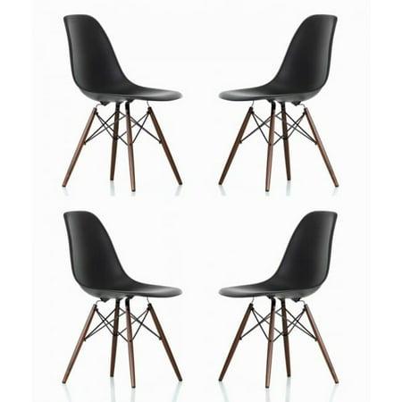 Black Plastic Chair Dark Walnut Wood Eiffel Legs Contemporary Retro Molded Style Black Accent Plastic Dining Shell Chair with Dark Walnut Wood Eiffel