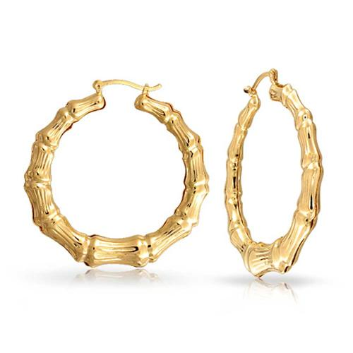 Bling Jewelry Bamboo Gold filled Hoop Earrings 2.25in