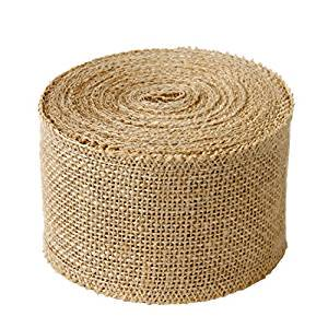"LaRibbons 3"" Burlap Fabric Craft Ribbon Natural 10 Yards"