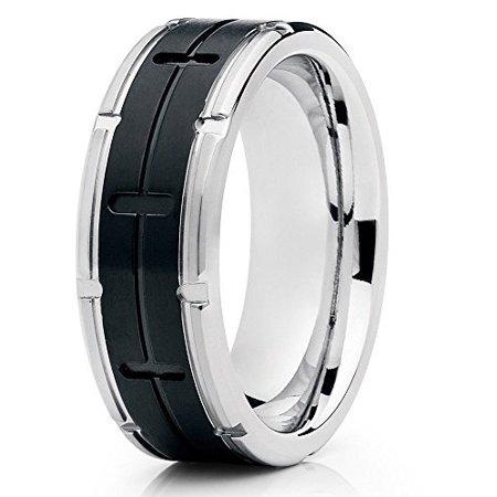 - Silver Titanium Ring 8mm Titanium Band Matte Black Grooved Finish Titanium Engagement Ring Comfort Fit Men Women